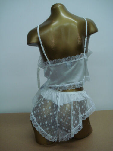 USA Made Nancy King Lingerie Baby Doll w// Tap Pant Pajamas Small White #990Q