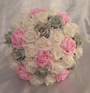Image Is Loading ARTIFICIAL WEDDING FLOWERS PINK IVORY SILVER GREY ROSE