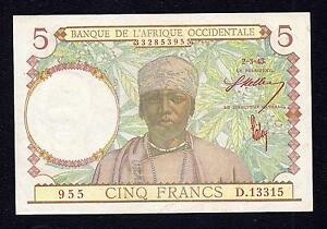 Coins & Paper Money Africa Diplomatic French West Africa 5 Francs 1943 P 26 Red Sing Aunc