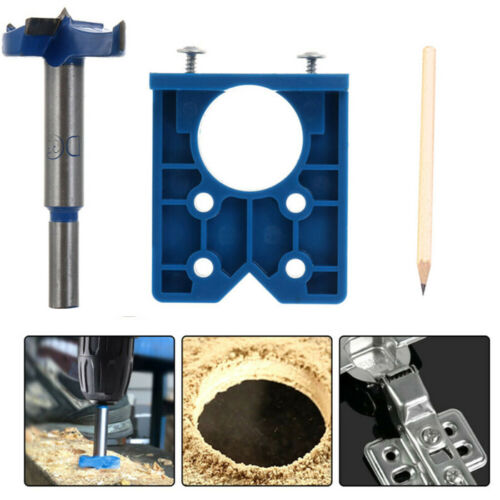 35 Mm Concealed Cabinet Door Hinge Jig Wood Hole Saw Drill Locator Guide Tool F