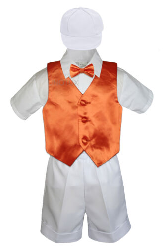 Baby Boys Toddler Formal Vest Shorts Suit Satin Vest Bow Tie 5pc White Set S-4T