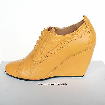 BALENCIAGA PARIS $805 yellow leather wedges brogue wedge shoes booties 37.5 NEW