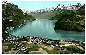 Aerial-View-Brunnen-Vierwaldstattersee-Switzerland-Postcard-1957