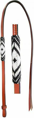 Western Saddle Horse Beaded Leather 4/' Over and Under Whip Barrel Racing Rodeo
