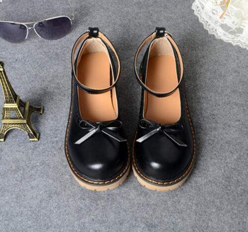 Women/'s Mary Janes Rond Cheville Boucle Noeud japonais Oxford Plat Chaussures Ske15