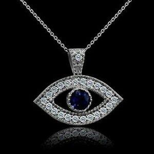 0-50Ct-Diamond-amp-Blue-Sapphire-Evil-Eye-Pendant-W-18-034-Chain-14K-White-Gold-Over