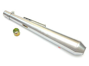 Chrome-Reverse-Cone-Motorcycle-Muffler-I-D-1-3-8-034-to-1-5-8-034-Length-26-034