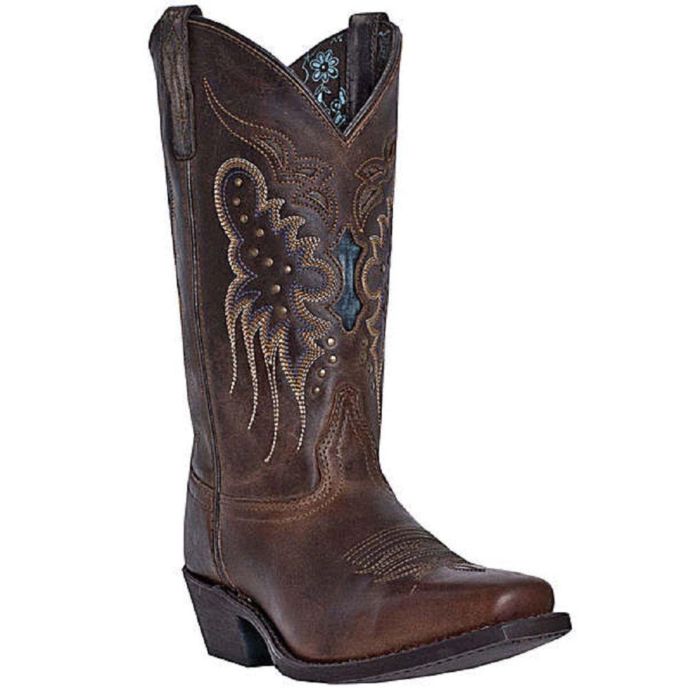 Larojoo Western botas Para Mujer Cora Snip Puntera De Cuero Marrón Azul 52034 Nuevo En Caja