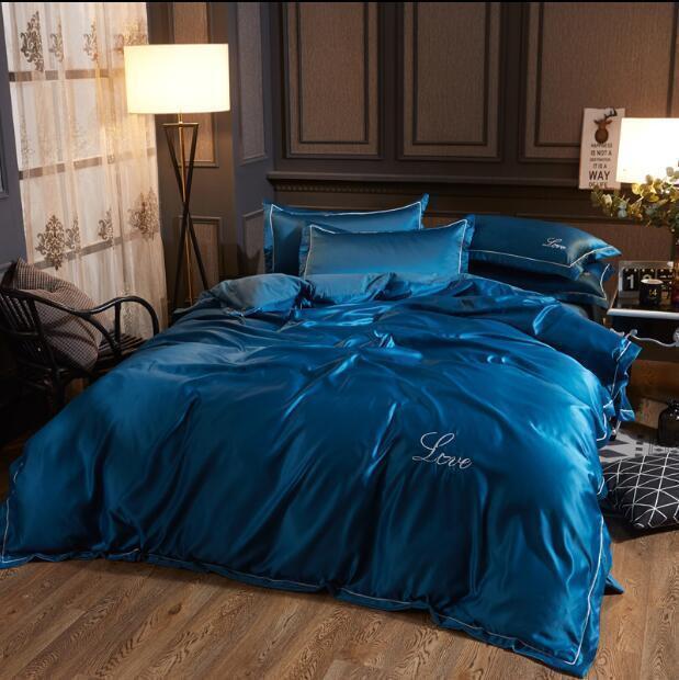 4pcs home Ice Silk Duvet Cover Sets Queen Pillowcase Sheet King Bedding Bed