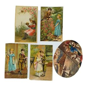 Victorian-Scrap-1880s-Vintage-Die-Cut-5-Pc-Boy-Girl-Children-Antique-Ephemera