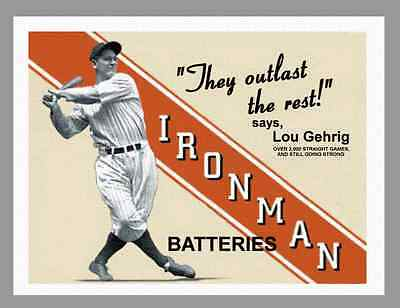 """LOU GEHRIG - IRONMAN BATTIERIES VINTAGE AD SIGN - ON 8.5"""" x 11"""" REAL CANVAS"""