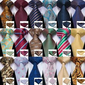 Blue-Black-Red-Purple-Brown-Men-039-s-Tie-Necktie-Set-Silk-Paisley-Hanky-Cufflinks