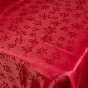 Damasse-Rouge-Flocon-De-Neige-Jacquard-Nappes-rectangle-Table-Nappe-Table-a-manger