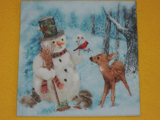 1 Packung 20 Servietten Schneemann WALD TIERE weihnachten Christmas winter reh