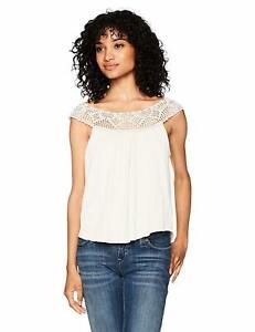 Billabong-Women-039-s-Get-Together-Crochet-Knit-Shirt-Cream-M-New