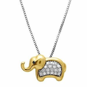 1-6-ct-Diamond-Elephant-Pendant-in-Sterling-Silver-amp-14K-Gold