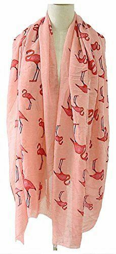 Kukubird Flamingo Print Frayed Cotton Scarf//Shawl//Wrap//Pashmina Free Delivery UK