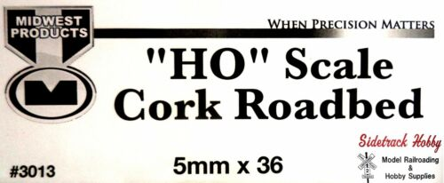 """pcs HO Scale Midwest Products 3013 Cork Roadbed 5mm x 36/"""" 5"""