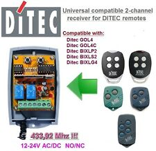 DITEC GOL4,GOL4C,BIXLP2,BIXLS2,BIXLG4 compatible universal 2-canal receptor