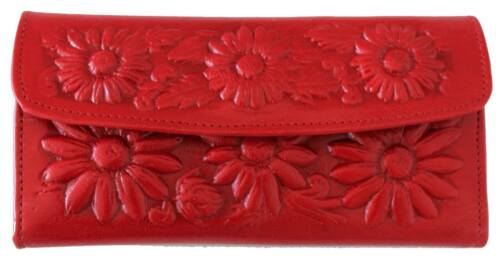 NEW Mexican Leather Handmade Raised Floral Wallet Coin Clutch Purse MULTI COLOR