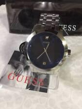 Men's GUESS U11576G2 Blue and Silver-Tone Diamond Dress Watch
