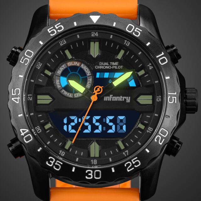 22d86838c320 INFANTRY Mens Digital Quartz Wrist Watch Chronograph Sports Military Army  Orange