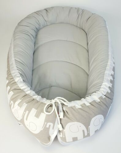 BABY NEST POD COCOON normal size 0-6 m HIGH QUALITY white elephants  light grey