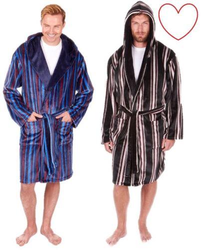 Mens Luxury Dressing Gown Robe Striped Bathrobe