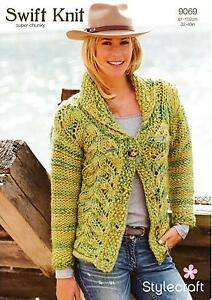 3d6df7674bb03 Image is loading Stylecraft-9069-Knitting-Pattern-Ladies-Cardigan-in-Swift-