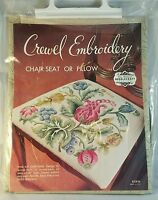 Crewel Embroidery Elsa Williams Kc610 Chair Seat Pillow Kit Yarn Linen Usa