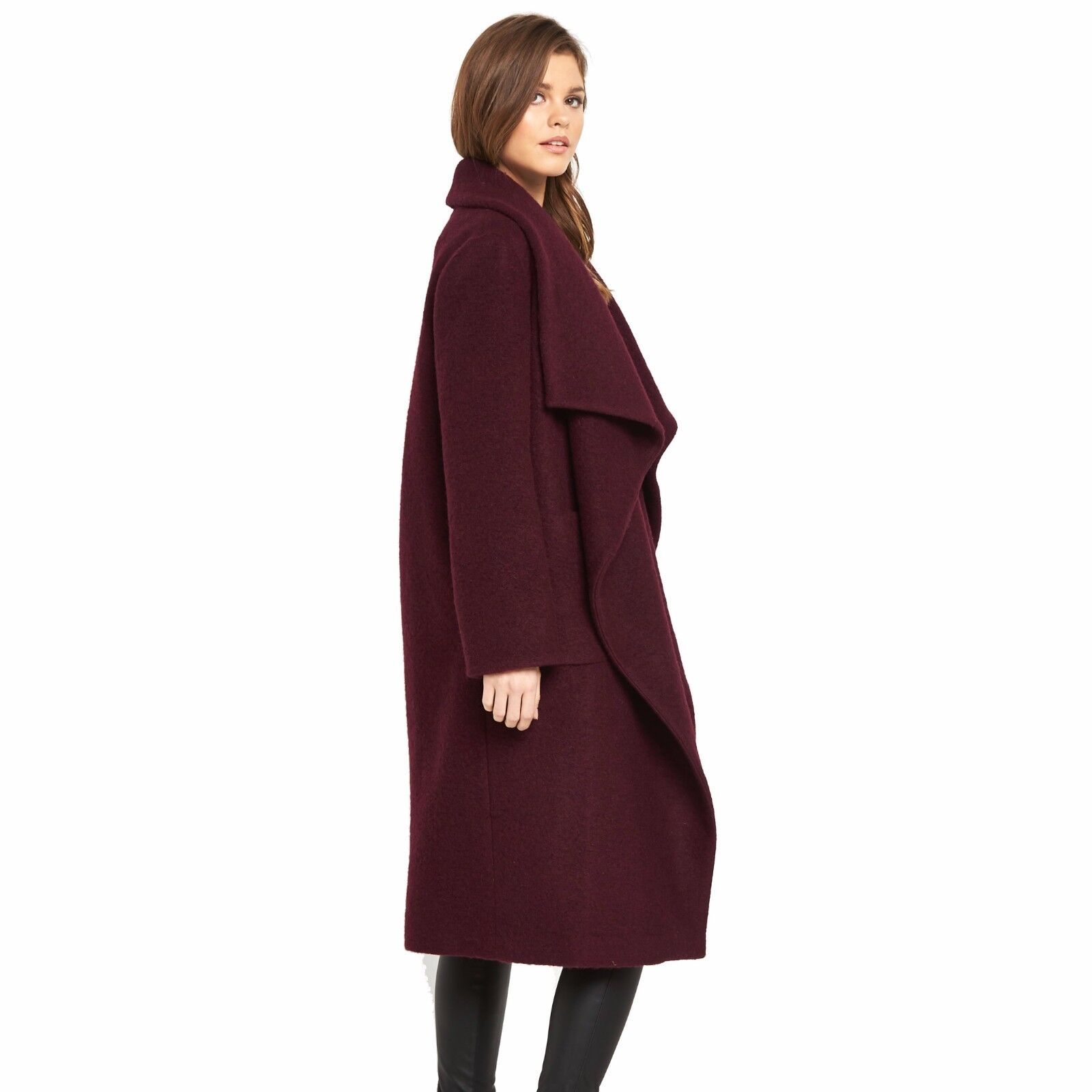 V By Very OVERSIZED Drape Wool Blend Blend Blend Coat Size 12 BNWT RRP  Cranberry 8c1e43
