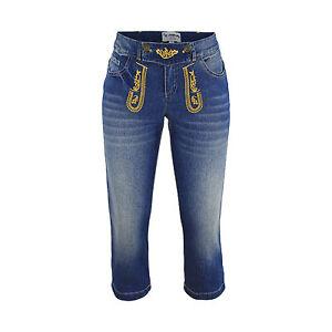 Trachtenhose Jeans Femmes à Capri Longueur Costumes Look Pantalon Cuir Simili Bleu Denim-afficher Le Titre D'origine MatéRiaux De Qualité SupéRieure