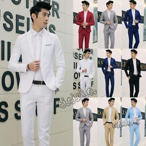 Men-039-s-Slim-Fit-Formal-Business-Tuxedos-Suit-Blaze-Coat-Pants-Party-Wedding-Prom