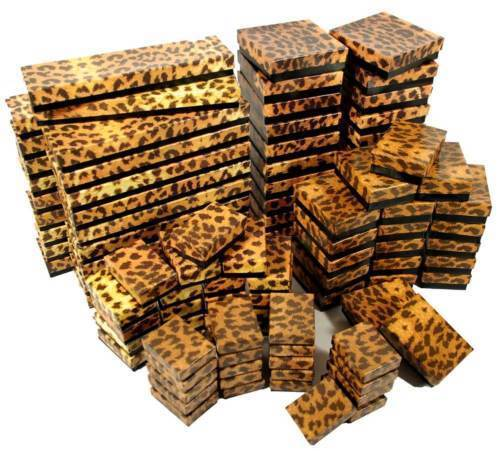 Leopard Print Cotton Filled Gift Boxes Jewelry Cardboard Box Lots 12~25~50~100
