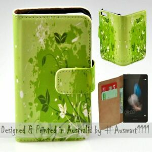 For-Huawei-Series-Green-Leaf-Theme-Print-Wallet-Mobile-Phone-Case-Cover