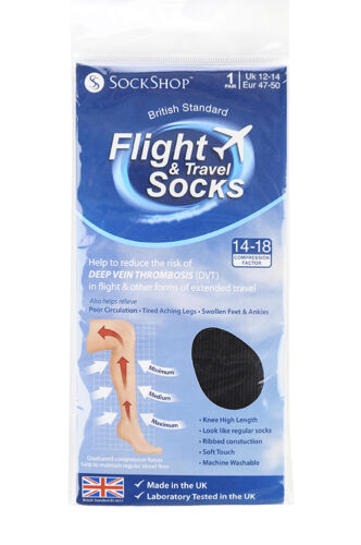 47-50 eur Black Mens sockshop BIGFOOT Flight 14-18mmHg Socks size 12-14 uk