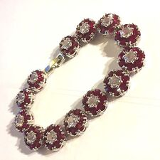 "GB Red Garnet +Sim Diamond 7""/18cm Silver Bracelet (white gold gf) BOXED Plum UK"