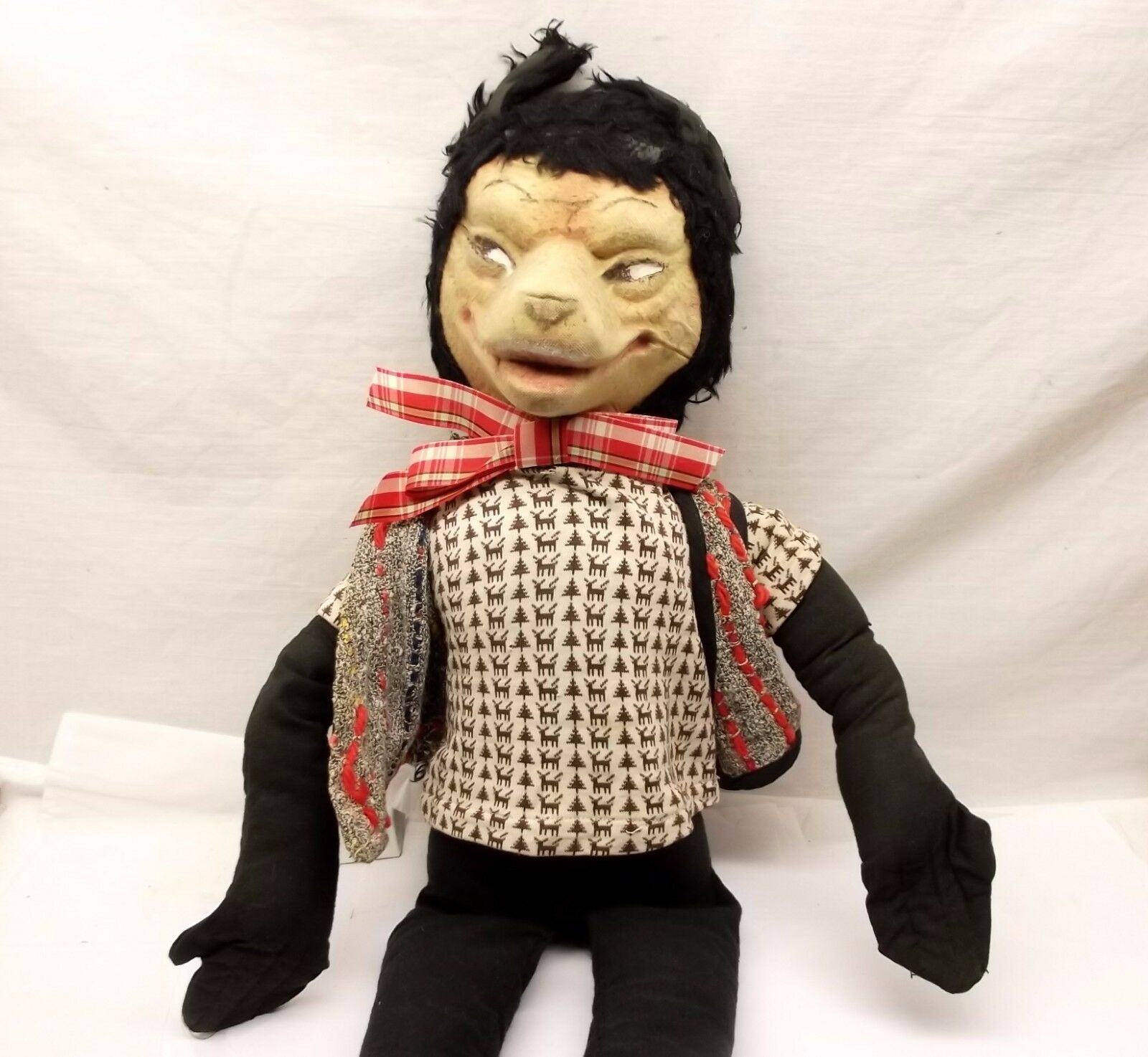 Antique groß Bad Wolf Felt Doll Plush Stuffed tiere Stockinette Wool Vtg 26