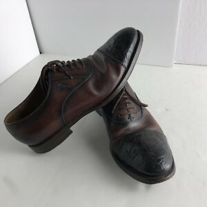 fcf07139fb7 Gucci Croc Skin Cap Toe Dress Shoes Mens 9 Crocodile Exotic Leather ...