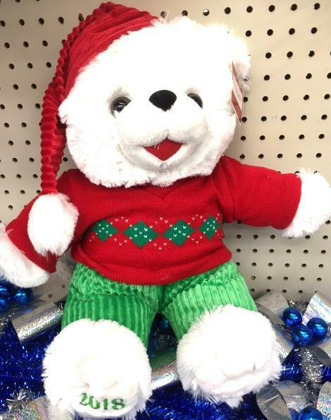 "2018 WalMART CHRISTMAS Snowflake TEDDY BEAR White A Boy 20"" Red Outfit Brand NWT"