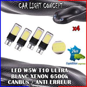 4-x-ampoule-Veilleuse-LED-W5W-T10-ULTRA-BLANC-XENON-6500k-voiture-auto-moto