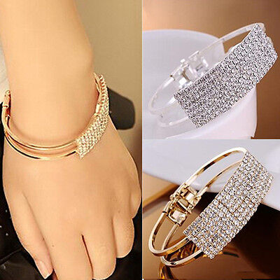 Womens Fashion Elegant Crystal Wristband Bangle Cuff Bracelet Bling Hand Chain
