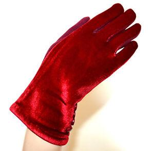 GUANTES-rojo-mujer-terciopelo-elegante-invierno-botones-calido-luvas-gloves-G10