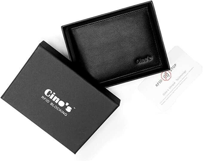Cino's RFID Blocking Genuine Leather Black Wallets for Men