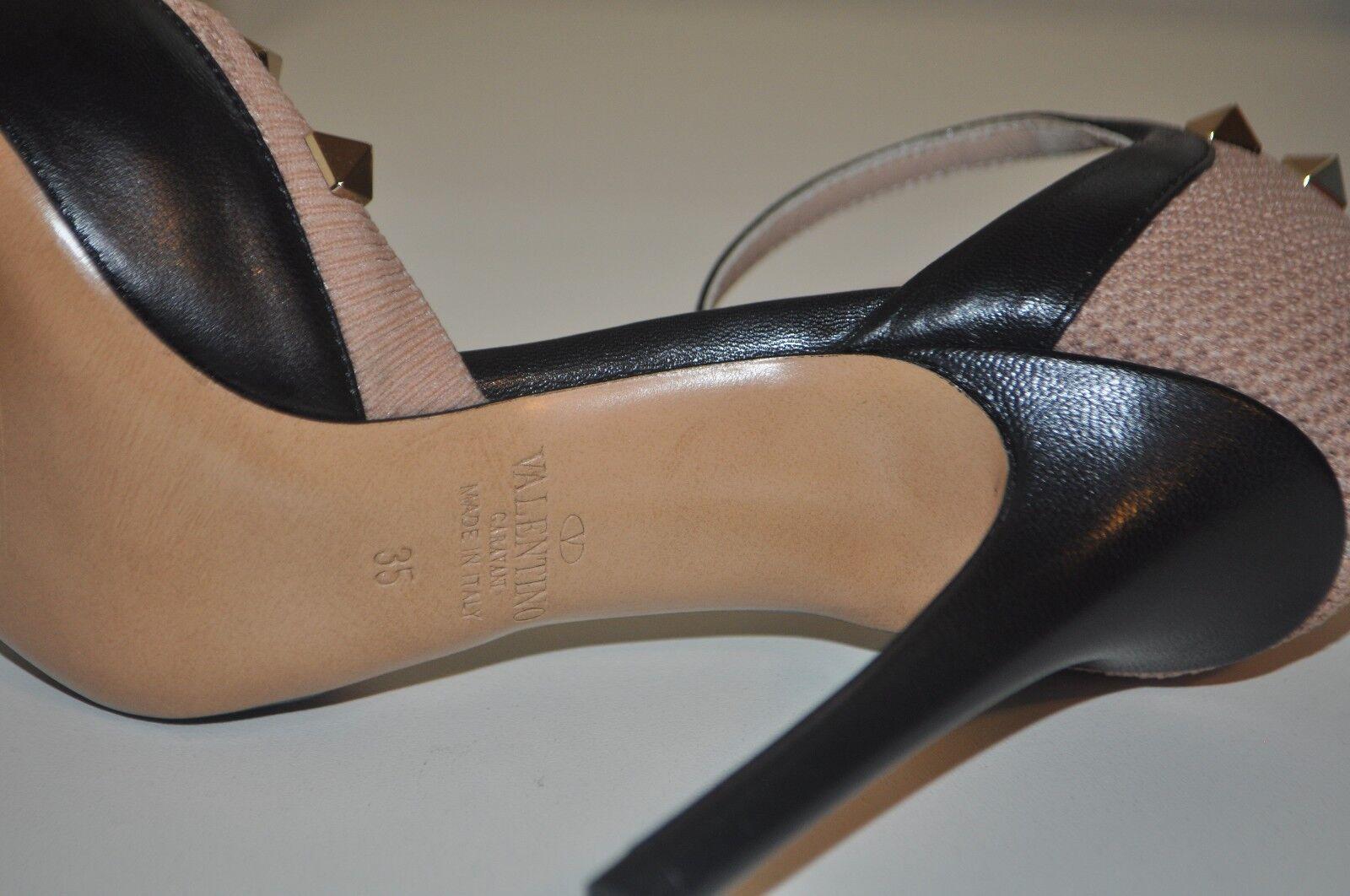 Nuevo En En En Caja  945 Valentino ROCKSTUD Calcetín Zapato de tacón Bomba de Correa en el Tobillo Piel Negro 35 - 5 EE. UU. 396689