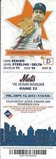 Sid Fernandez 2x All-Star Mets vs. Marlins Citi Stub Sept 13 2013 Game 72