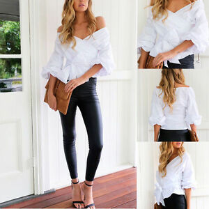 1e50d8f4cac40 Women V-neck Bardot Top Ruffle Sleeve Waist Tie Cross Off Shoulder ...