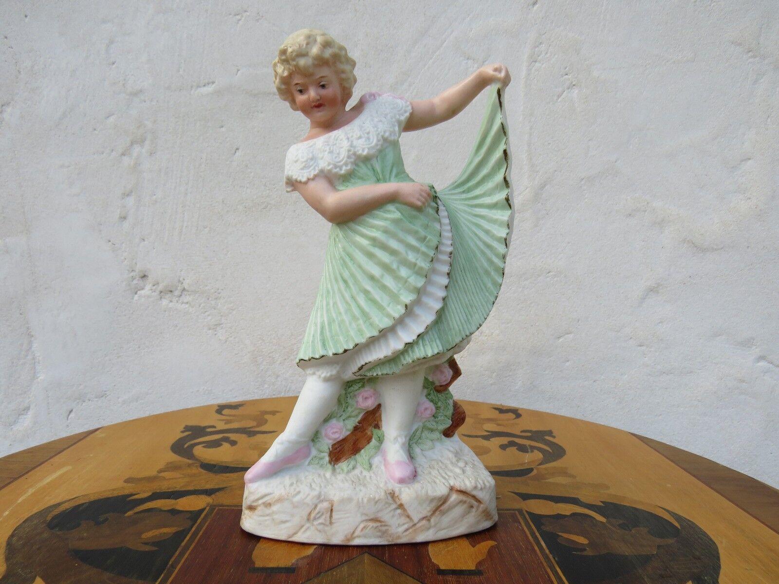 Antiguo Elegante Gebruder Heubach Dancing Girl estatuilla bisque Piano 8.5 , c.1890
