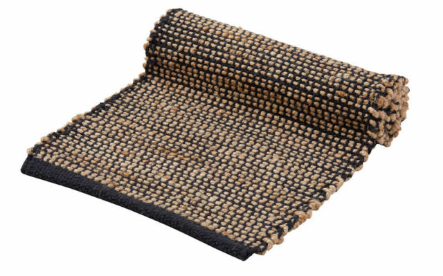 NEW Amalfi ORSON Jute Table Runner Black Natural 35 x 140 cm made in India