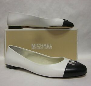 d57c725d9fd3 Image is loading Michael-Kors-Hayley-White-Black-Ballet-Flat